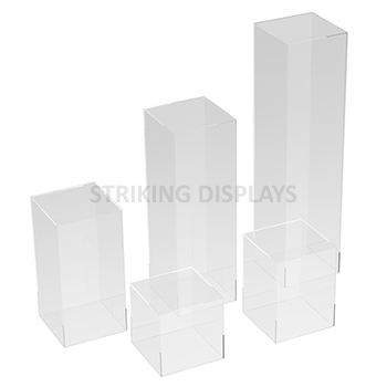 image pedestals click waterfall to clear acrylic close pedestal clearacrylicwaterfallpedestal large