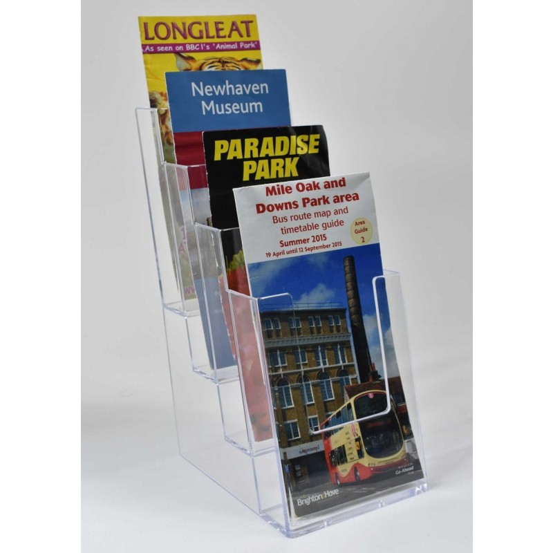 Freestanding DL 4 Tier Portrait Leaflet Dispenser - Tiered Leaflet