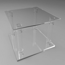 400mm Square Flat Pack Acrylic Tube Pedestals 300mm High