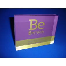 Acrylic Block Printed B & B Purple and Gold