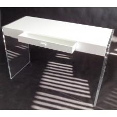 White & Clear Console Desk